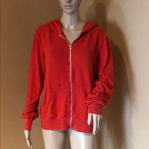 Wildfox Red Zip Hoodie Size M